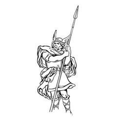 Old scandinavian design viking warrior vector