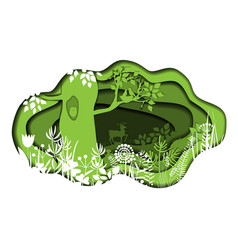 Paper art with forest plants and deer vector