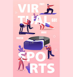 People use virtual reality concept tiny vector