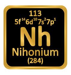 Periodic table element nihonium icon vector