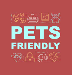 Pets friendly hotel word concept banner vector