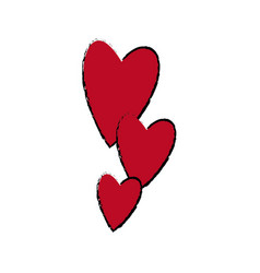 Red hearts falling emotion romantic symbol vector