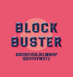 Retro chiseled alphabet vintage style font vector