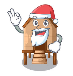 Santa chicken in a wooden cartoon coop vector