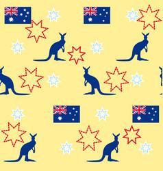 Seamless background kangaroo stars australian vector