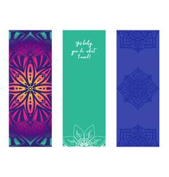 Set design yoga mats floral and mandala vector