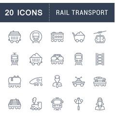 Set line icons rail transport vector