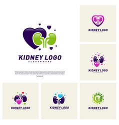 Set love kidney logo design concept urology vector