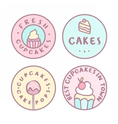 Set of badges Cupcake cakes cakepops vector