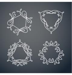 Set of outline monogram 05 vector image