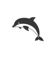 silhouette dolphin icon vector image