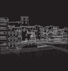 sketch of the street of girona vector image