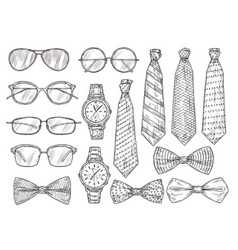 sketched mens accessories glasses watches and vector image