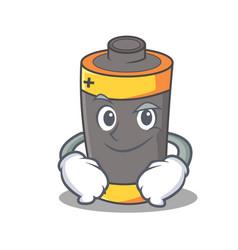 smirking battery character cartoon style vector image