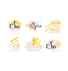 spa salon logo design collection beauty vector image