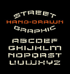 stencil-plate font in the style of handmade vector image