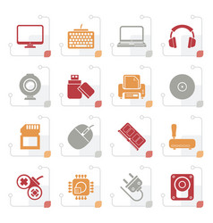 Stylized computer peripherals and accessories icon vector
