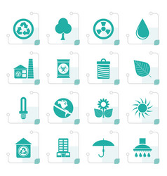 stylized ecology and nature icons vector image vector image