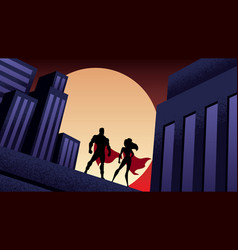 Superhero couple city night vector