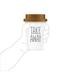 Take away retro vintage style hand holds a cup of vector