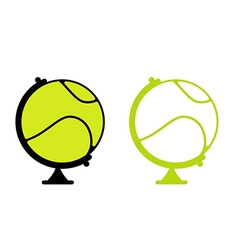 Tennis ball Globe World game Sports accessory as vector image