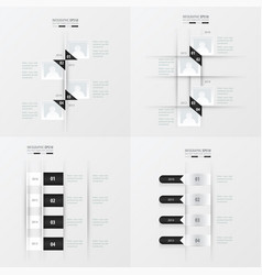 timeline 4 item black and white color vector image