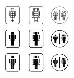 Toilet robot sign icon set vector