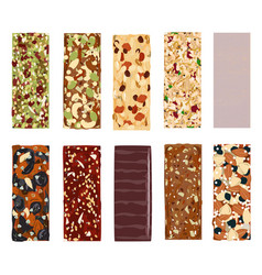 Top view of hand drawn healthy and energy bars vector
