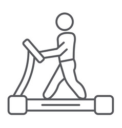 treadmill thin line icon fitness and exercise vector image