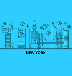 united states new york winter holidays skyline vector image