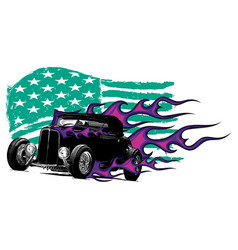 Vintage car with the american flag vector