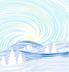 winter meadow with trees and sky vector image