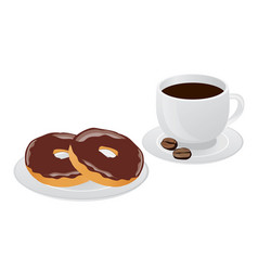 cup of coffee and donut vector image vector image