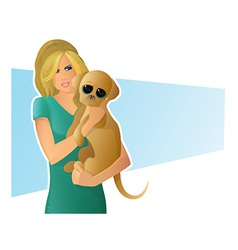 dog girl vector image vector image