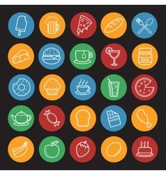 Food and drinks linear icons set Color vector image vector image