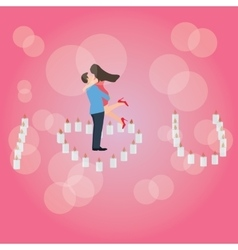 I love you heart shaped candle couple hug romantic vector image vector image