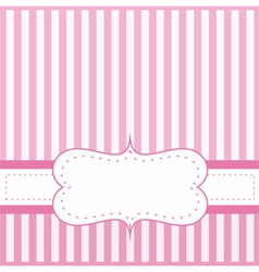 Pink card invitation with white stripes vector image vector image