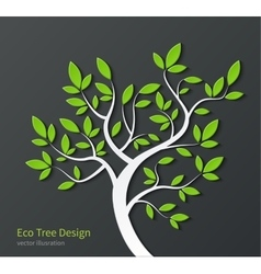 Stylized tree with branches and green leaves vector image vector image