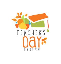 Teachers day label design back to school logo vector