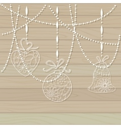 Wooden background with paper toys vector image vector image