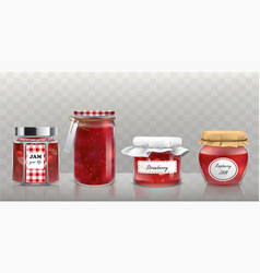 collection of glass jars with jam in a vector image