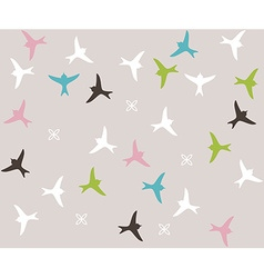 Colored birds seamless pattern Bird silhouette vector image