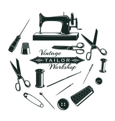 hand drawn tailor elements collection vector image vector image