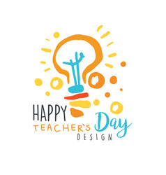 happy teachers day label design back to school vector image
