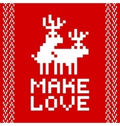 Pixel art style retro game two deers making love vector image vector image