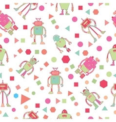 Seamless pattern for kids with robots vector image vector image