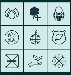 Set of 9 eco icons includes pin earth fire vector