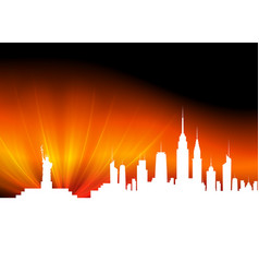 Background with white silhouettes of buildings vector