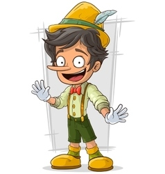 Cartoon young Pinocchio with big boots and hat vector image vector image
