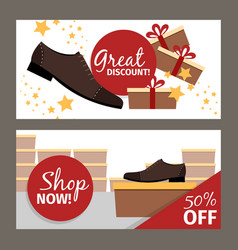 men shoes horizontal flyers for advertising vector image